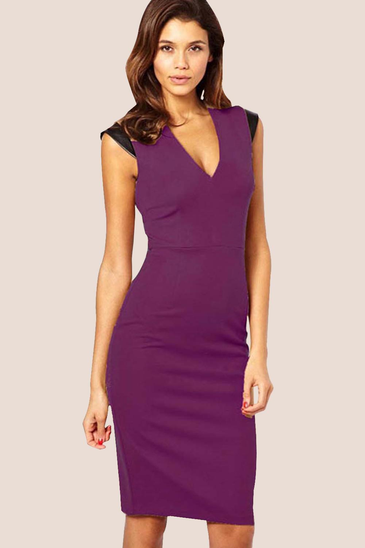 WOMEN SLEEVELESS V-NECK BODYCON DRESS PURPLE – Unomatch Shop 4342908172