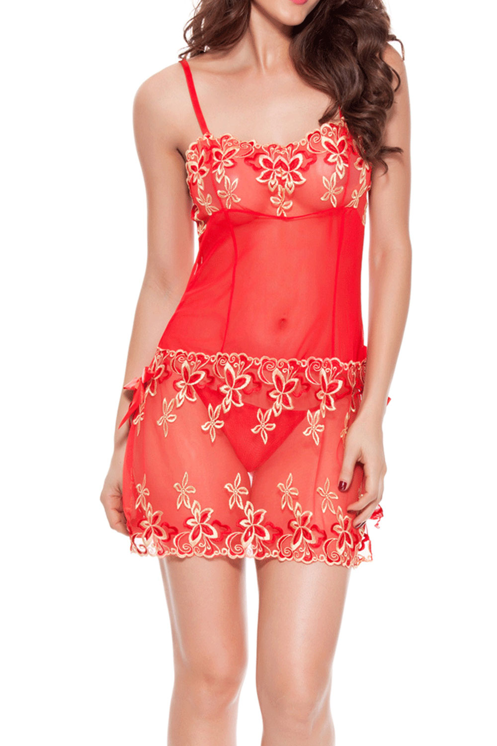 21d960fa6ed UNOMATCH WOMEN SILVER DECORATED SHEER LACE LINGERIE RED – Unomatch Shop