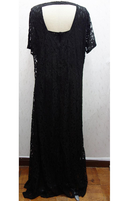 UNOMATCH WOMEN BACK ZIP FASTENING LACE LONG PLUS SIZE DRESS BLACK ...