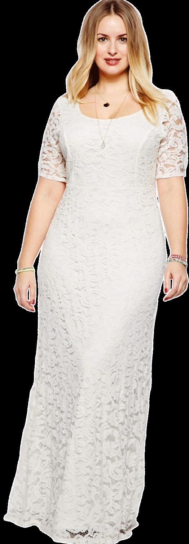 Unomatch Women Back Zip Fastening Long Lace Dress Plus Size Dress