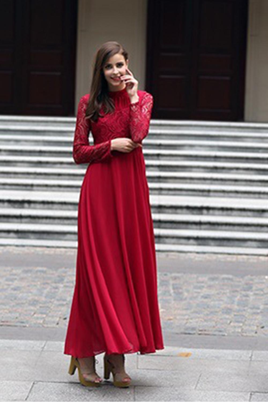 chiffon red dress