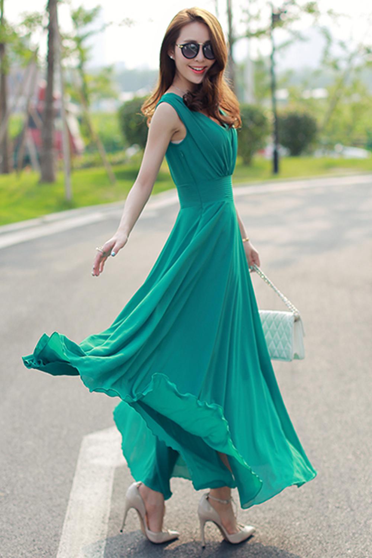 WOMEN CHIFFON LONG PLEATED SKIRT GOWN DRESS GREEN ...