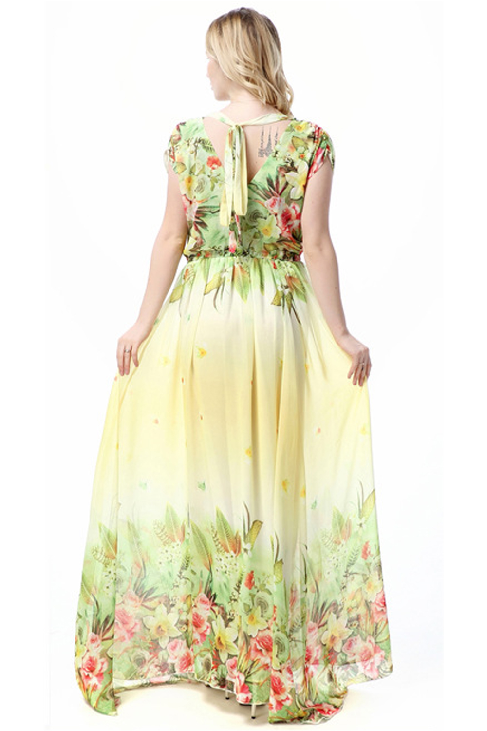7a32dd90fc7 UNOMATCH WOMEN PRINTED DECORATED BUST LONG PLEATED PLUS SIZE GOWN ...