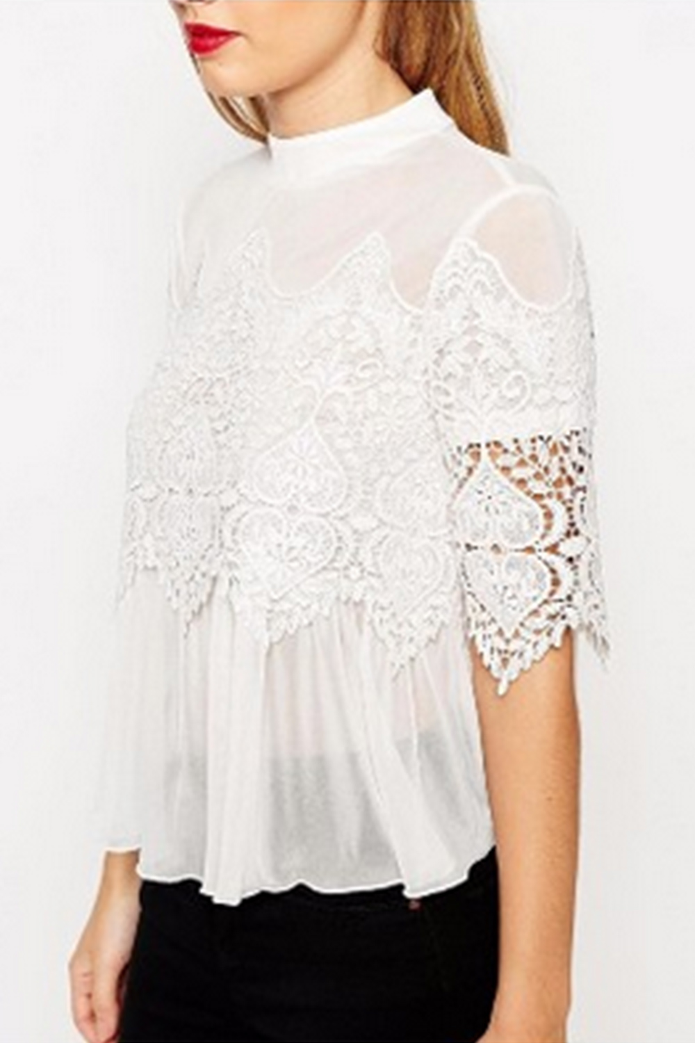 fe060f6b91bf3d UNOMATCH WOMEN DESIGNING BUST LOOSE LACE SHIRT AND BLOUSE WHITE ...