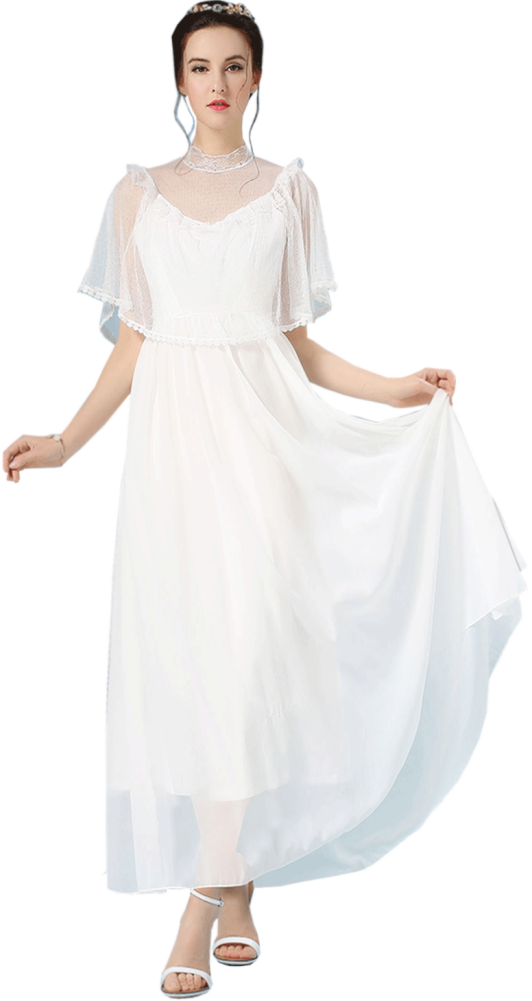 Womens Fairy Style Brides Long Thin Dress White Unomatch