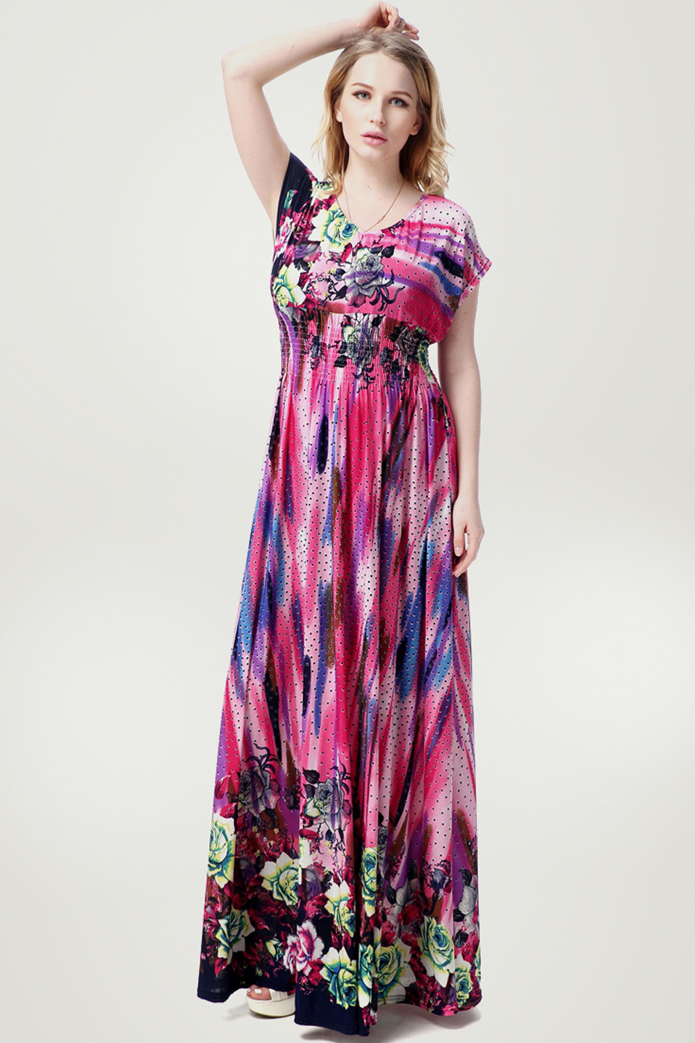 unomatch women floral printed maxi style plus size gown. Black Bedroom Furniture Sets. Home Design Ideas