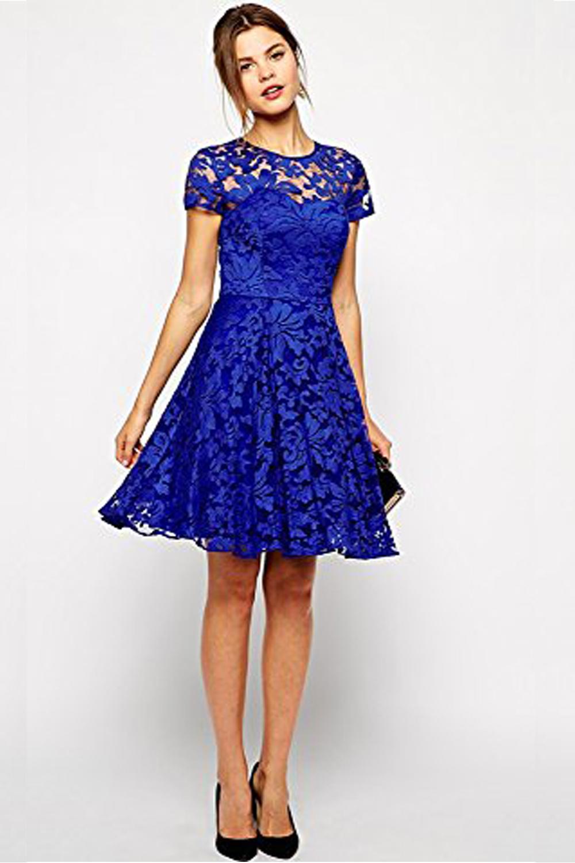 Beautiful WOMEN HALTER STYLE ROUND NECK SHORT SLEEVES DRESS BLUE  Unomatch
