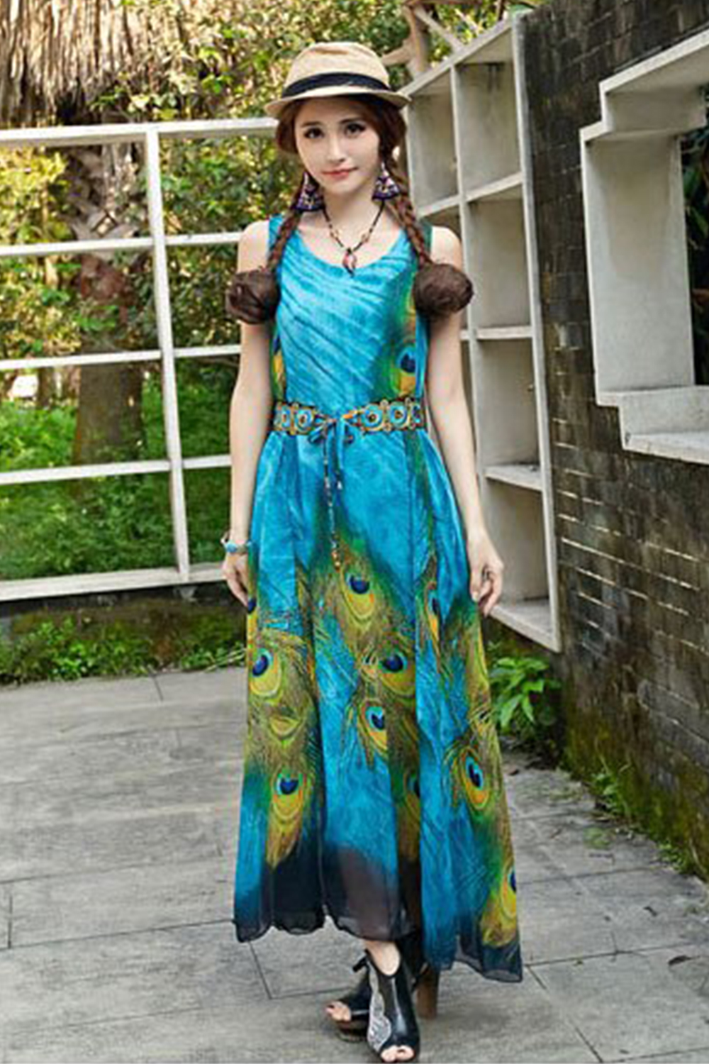 be0fdc1e386 UNOMATCH WOMEN PLUS SIZE LOOSE FITTING LONG PEACOCK FEATHER PRINTED GOWN ...