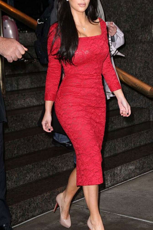 WOMEN SQUARE COLLAR KIM KARDASHIAN KNEE LENGTH PENCIL DRESS RED ...