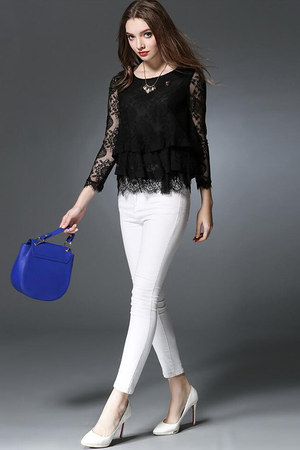 7f32ca5776a UNOMATCH WOMEN LONG SLEEVES LACE COVERED PARTY WEAR SHIRT AND BLOUSE BLACK