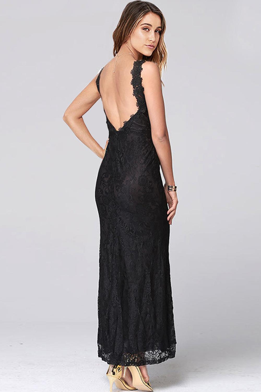Unomatch Women Lace Designed Deep V Neck Long Length Maxi