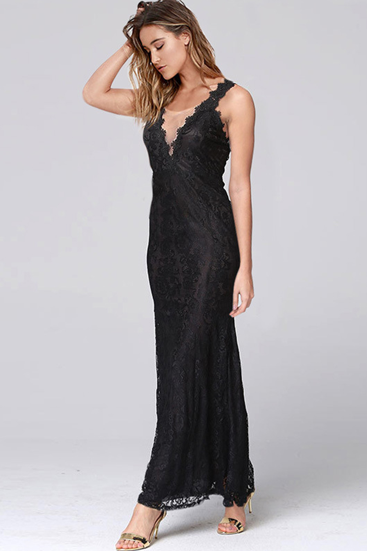 Unomatch Women Lace Designed Deep V Neck Long Length Maxi Dress