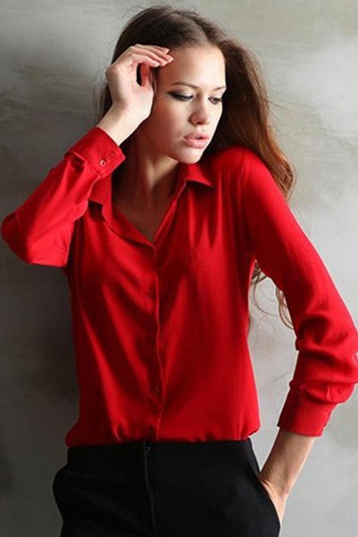red collar shirt womens