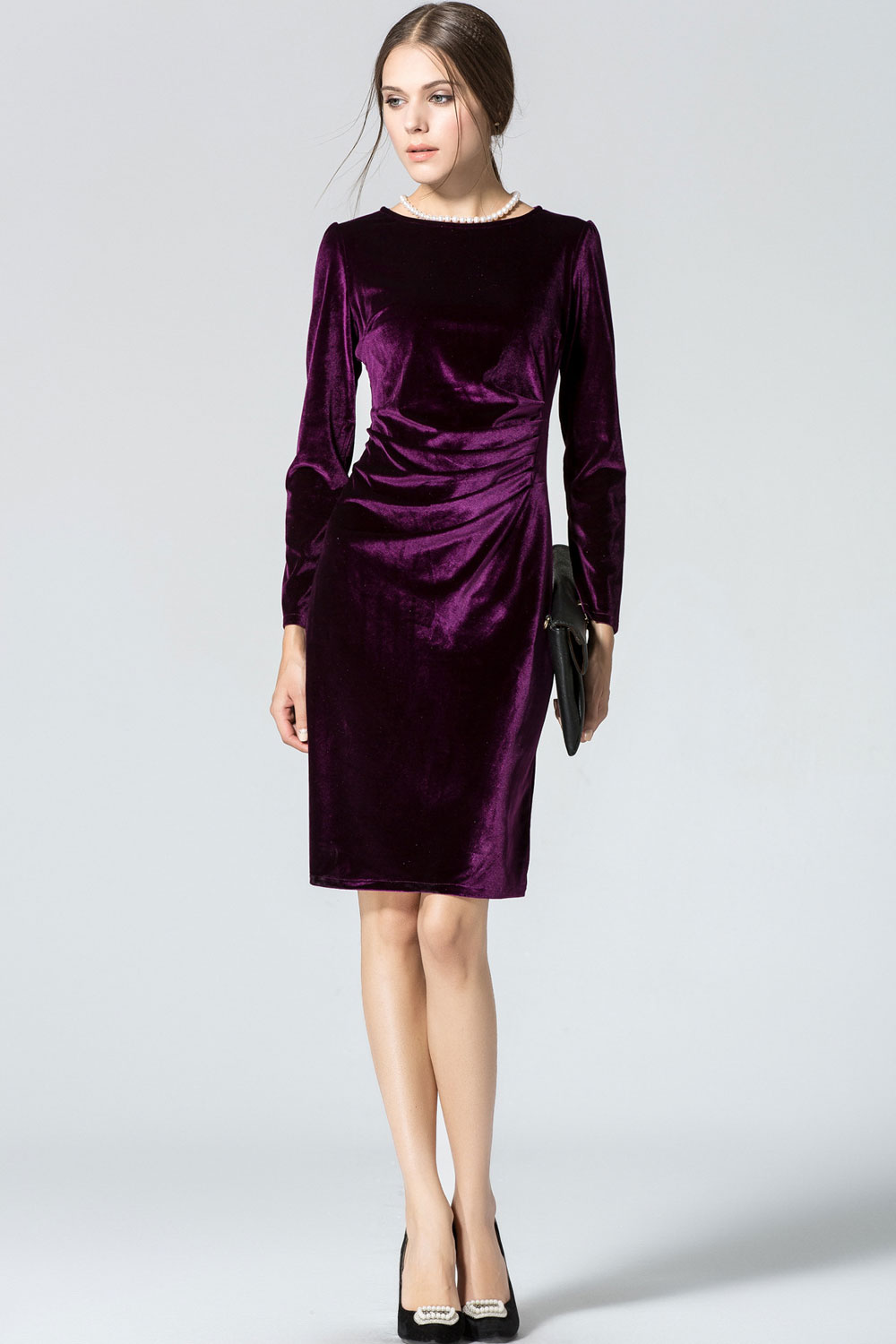 WOMENS LONG SLEEVED ROUND-NECK SLIM VELVET PLEATED WINTER DRESS ...