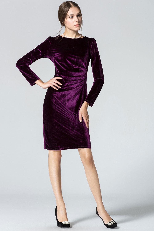 WOMENS LONG SLEEVED ROUND-NECK SLIM VELVET PLEATED WINTER DRESS ...