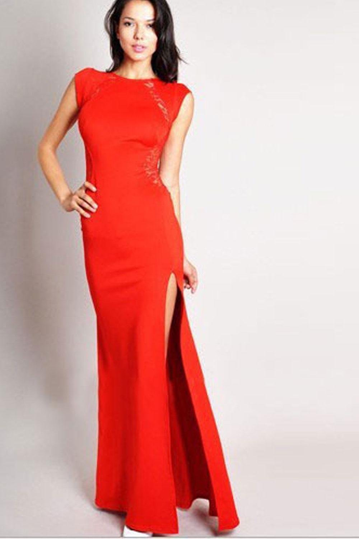 unomatch women long slit party wedding slim dress red