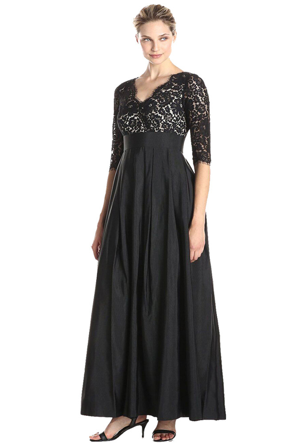 UNOMATCH WOMEN PLUS SIZE LACE STITCHING LONG PARTY MAXI DRESS BLACK