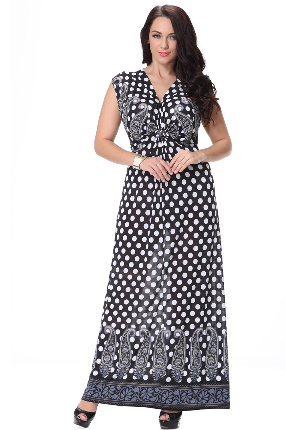 9fc98f1d014 UNOMATCH WOMEN PLUS SIZE LONG LENGTH POLKA DOTS PRINTED BUNCH DRESS BLACK.  Zoom images