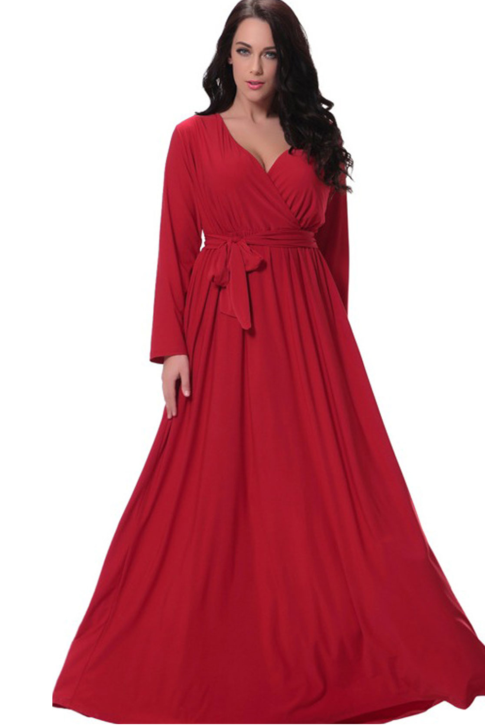 09cb524066e UNOMATCH WOMEN PLUS SIZE PLEATED MAXI GOWN PARTY DRESS RED ...