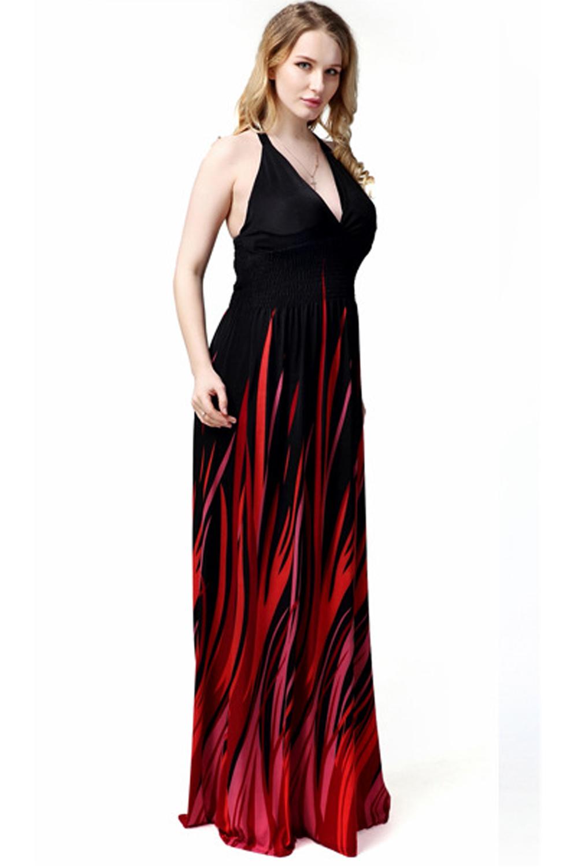 7ec676c3131 UNOMATCH WOMEN PLUS SIZE V-NECK LONG GOWN PRINTED DRESS BLACK ...