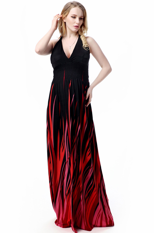 4e41002819c UNOMATCH WOMEN PLUS SIZE V-NECK LONG GOWN PRINTED DRESS BLACK ...