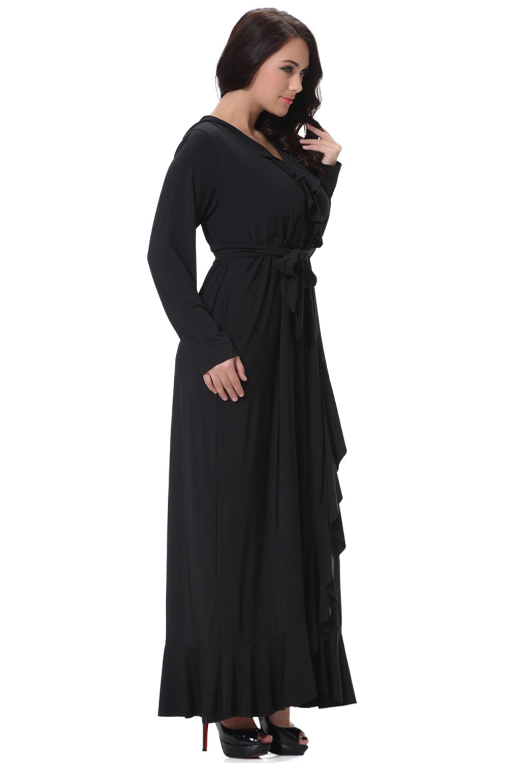 UNOMATCH WOMEN PLUS SIZE V-NECK LONG SLIT GOWN MAXI DRESS ...