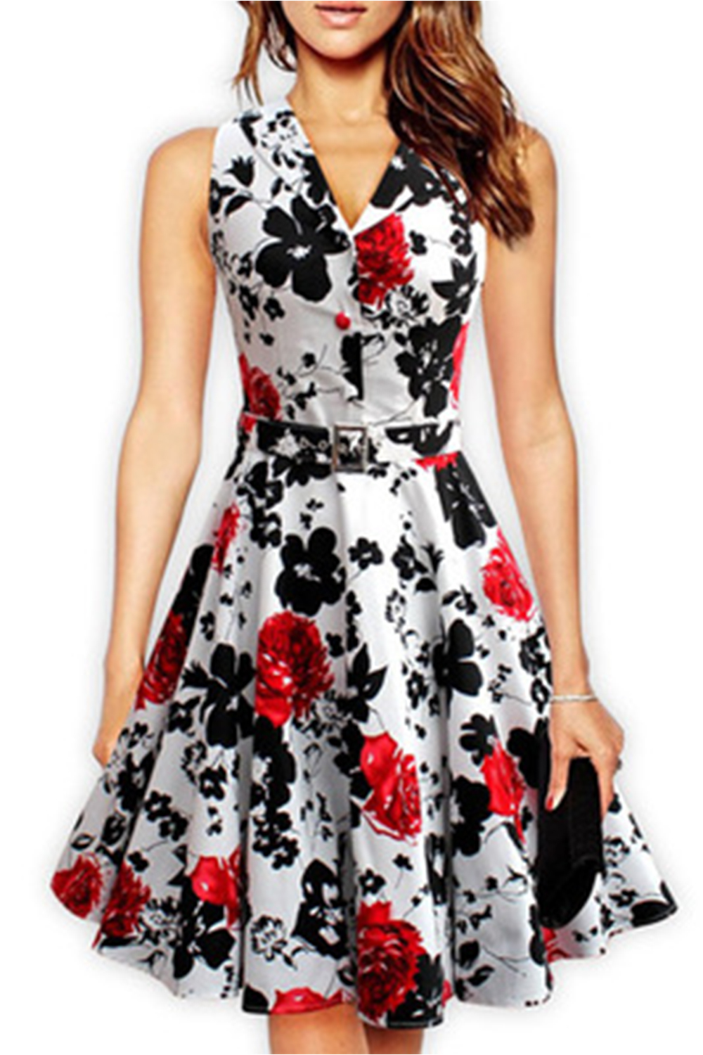 Women Retro Embossed Collar Neck Floral Halter Dress With