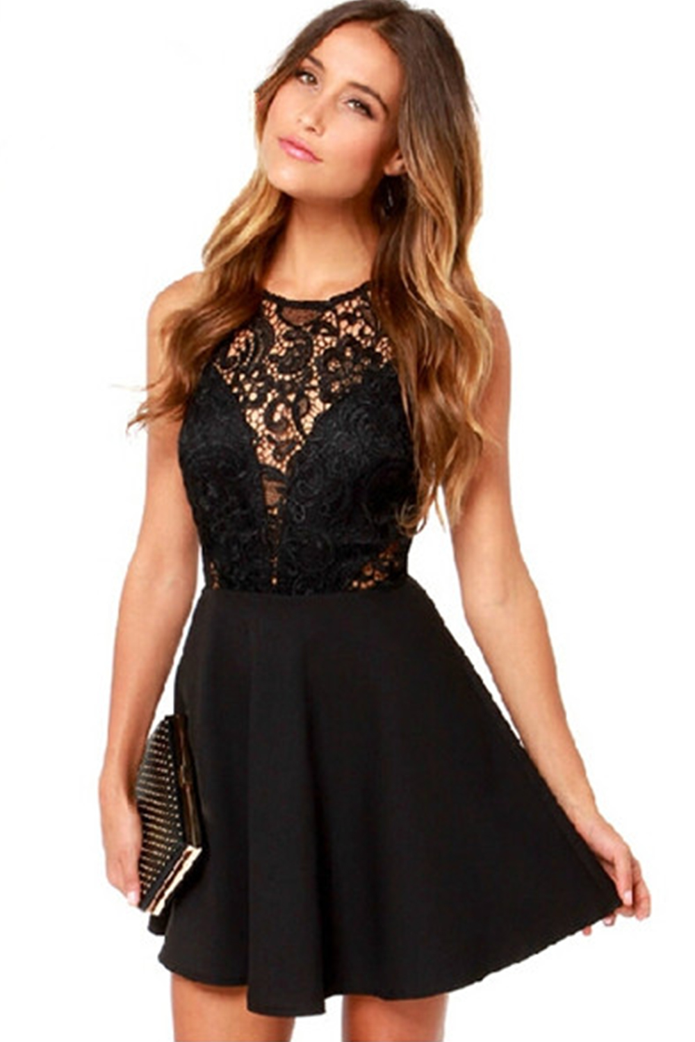 f841e8df8f5e UNOMATCH WOMEN ROUND NECK LACE DECORATED SHORT LENGTH SEXY SKIRT DRESS BLACK