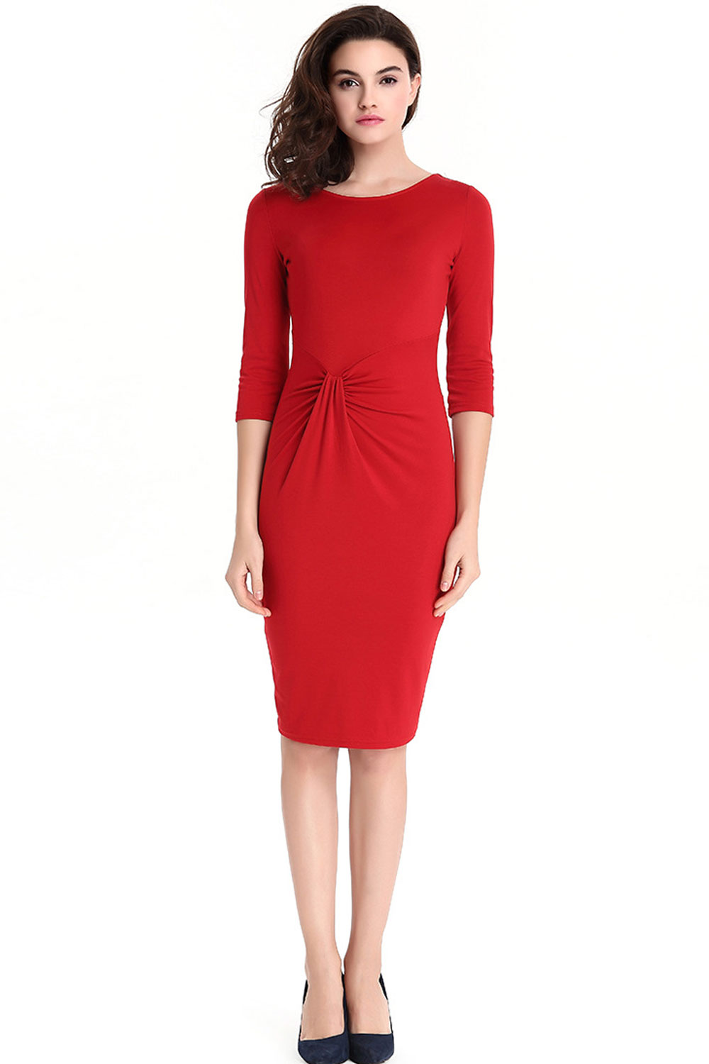 casual red knee length dress