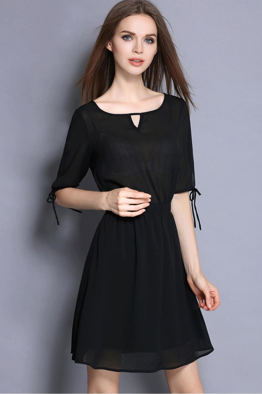 Elastic Waist Short Dress