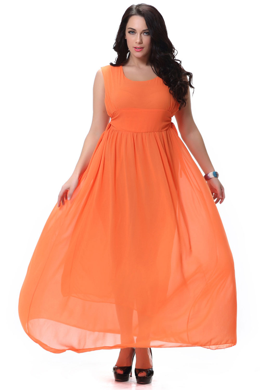 UNOMATCH WOMEN\'S ROUND NECK PLEATED LONG GOWN PROM NIGHT DRESS ORANGE