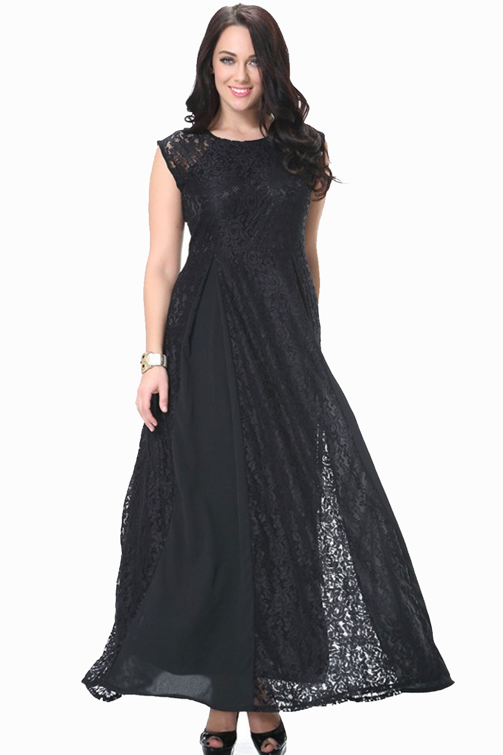 316c609b699 UNOMATCH WOMEN ROUND NECK SLEEVELESS PLUS SIZE LACE DRESS BLACK ...