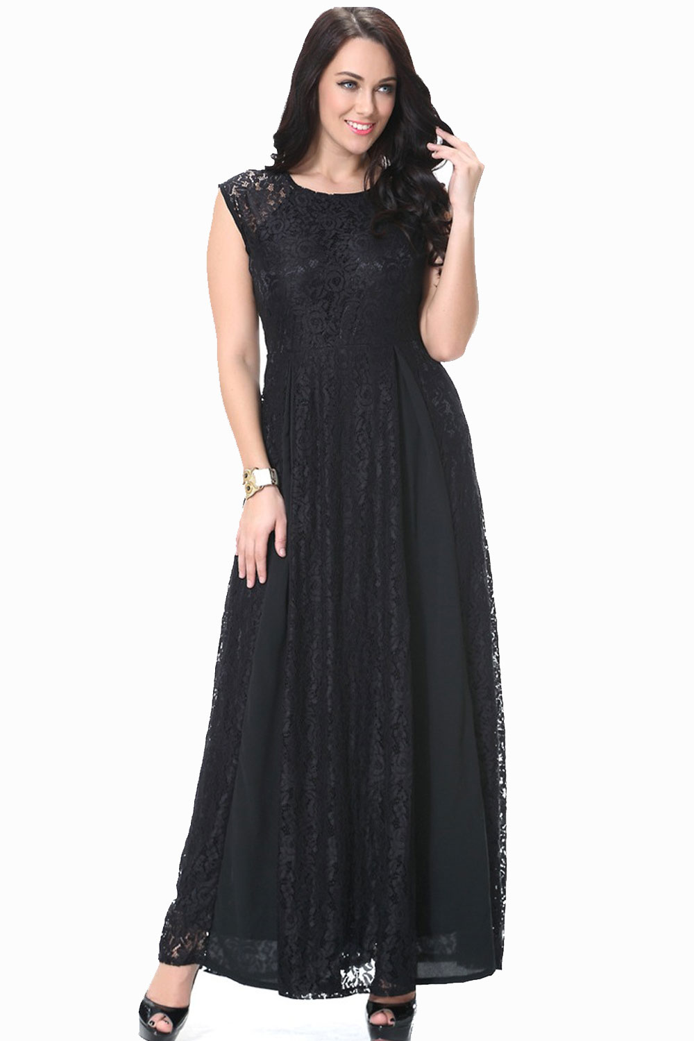 UNOMATCH WOMEN ROUND NECK SLEEVELESS PLUS SIZE LACE DRESS ...