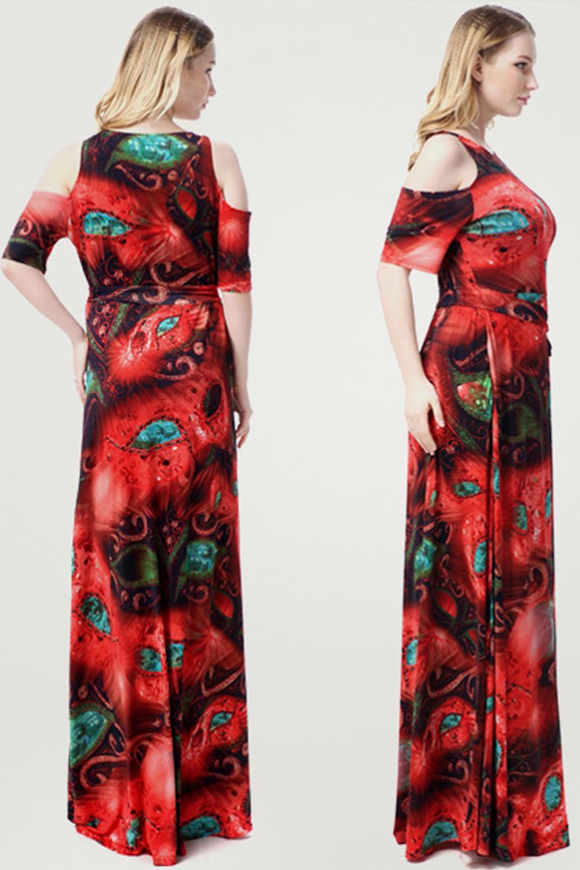 653ff4e9a20 UNOMATCH WOMEN LONG LENGTH PLUS SIZE ROUND NECK MAXI DRESS RED ...