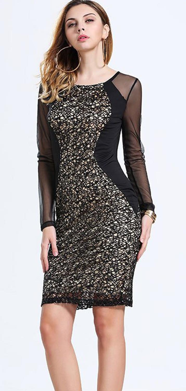 30941b87154 UNOMATCH WOMEN LACE DECORATED SHORT LENGTH SHEATH DRESS BLACK ...