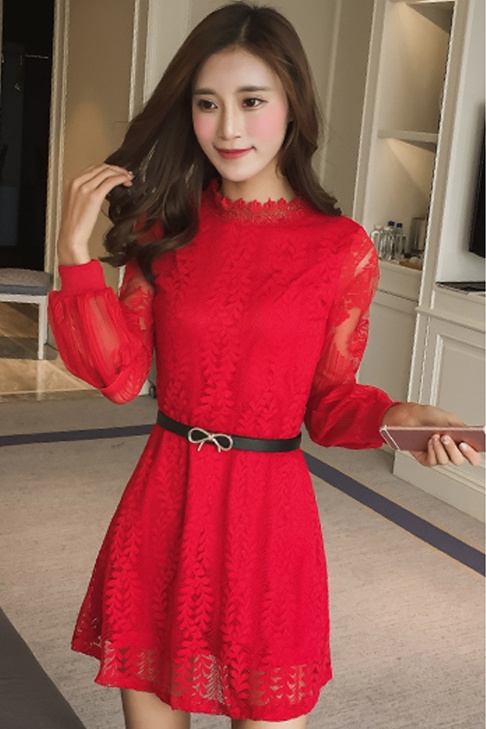 f809d17e6582 UNOMATCH WOMEN LACE DECORATED SHORT SLEEVES SKATER DRESS WITH BELT ...