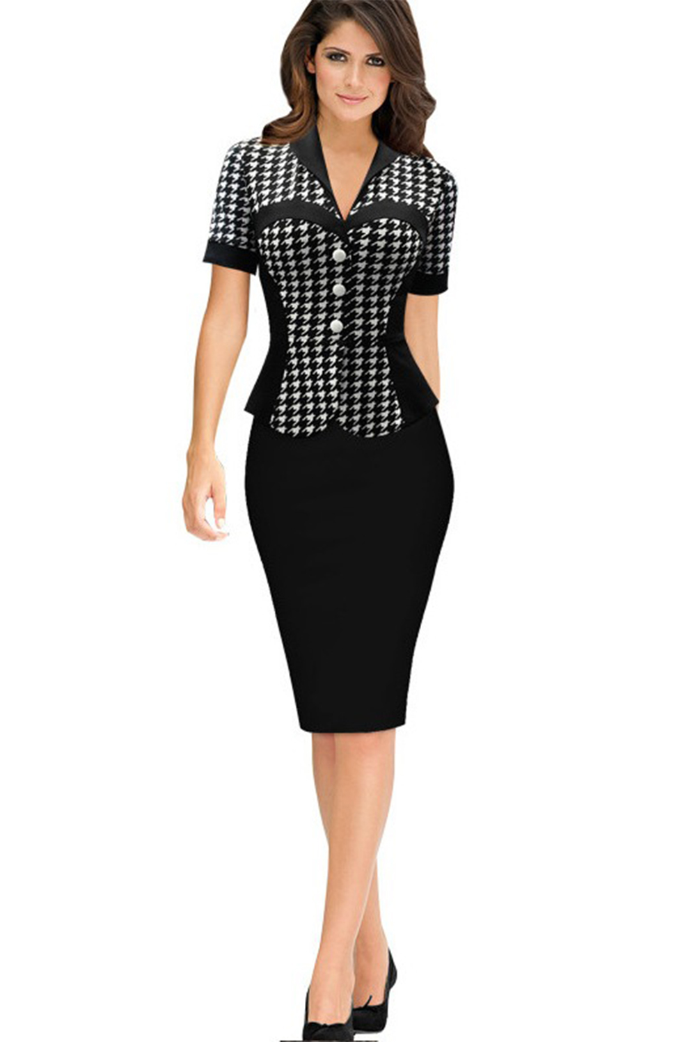 UNOMATCH WOMEN SHORT SLEEVED PLAID PATTERN PEPLUM DRESS ...