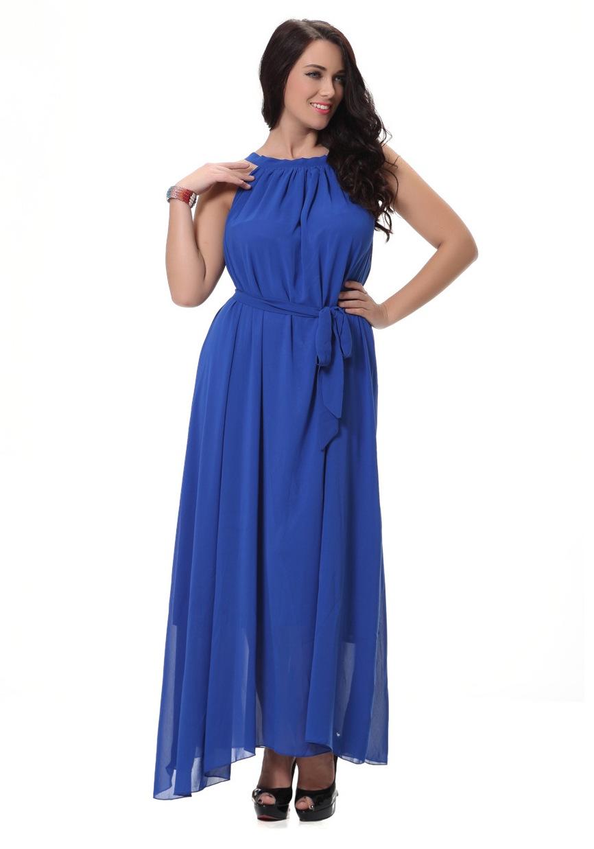 Unomatch Women Sleeveless A Line Chiffon Plus Size Dress Blue