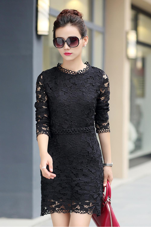 067e39835 UNOMATCH WOMEN ROUND NECK COLLAR LONG SLEEVES LACE SHIFT DRESS BLACK ...
