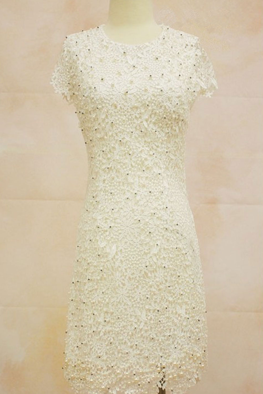 womens stereo flower embroided short sleeves wedding dress