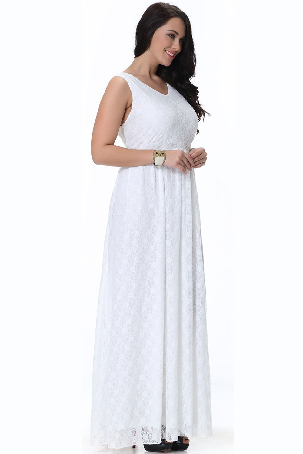 UNOMATCH WOMEN WEDDING SLEEVELESS V-NECK PLUS SIZE DRESS PLEATED ...