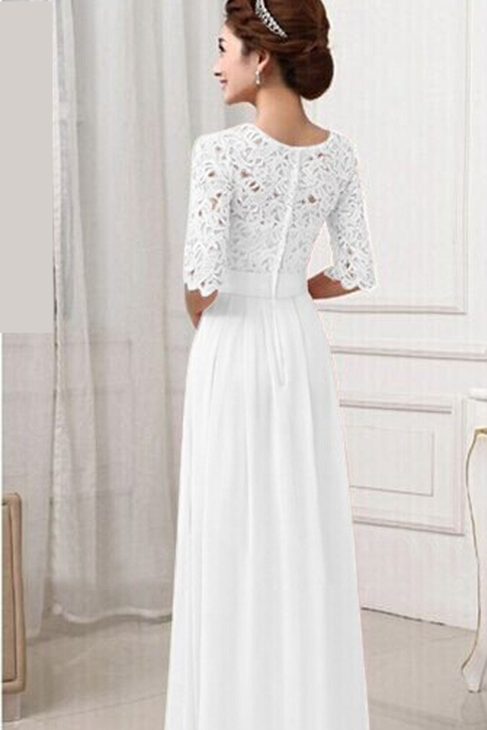 Unomatch women winter party dresses lace designed long for Womens wedding dresses