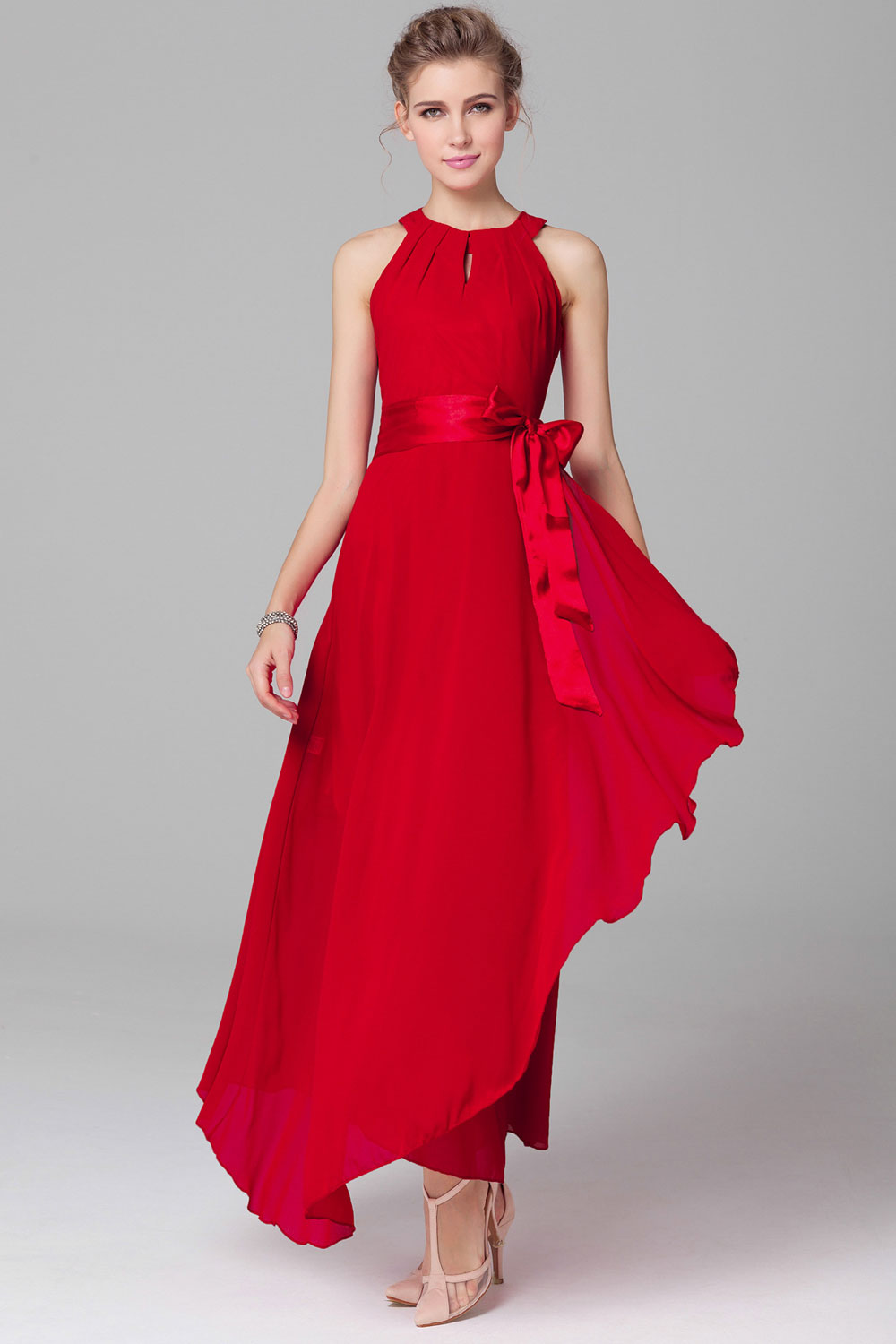 WOMENS CHIFFON SLEEVELESS PROM DRESS RED