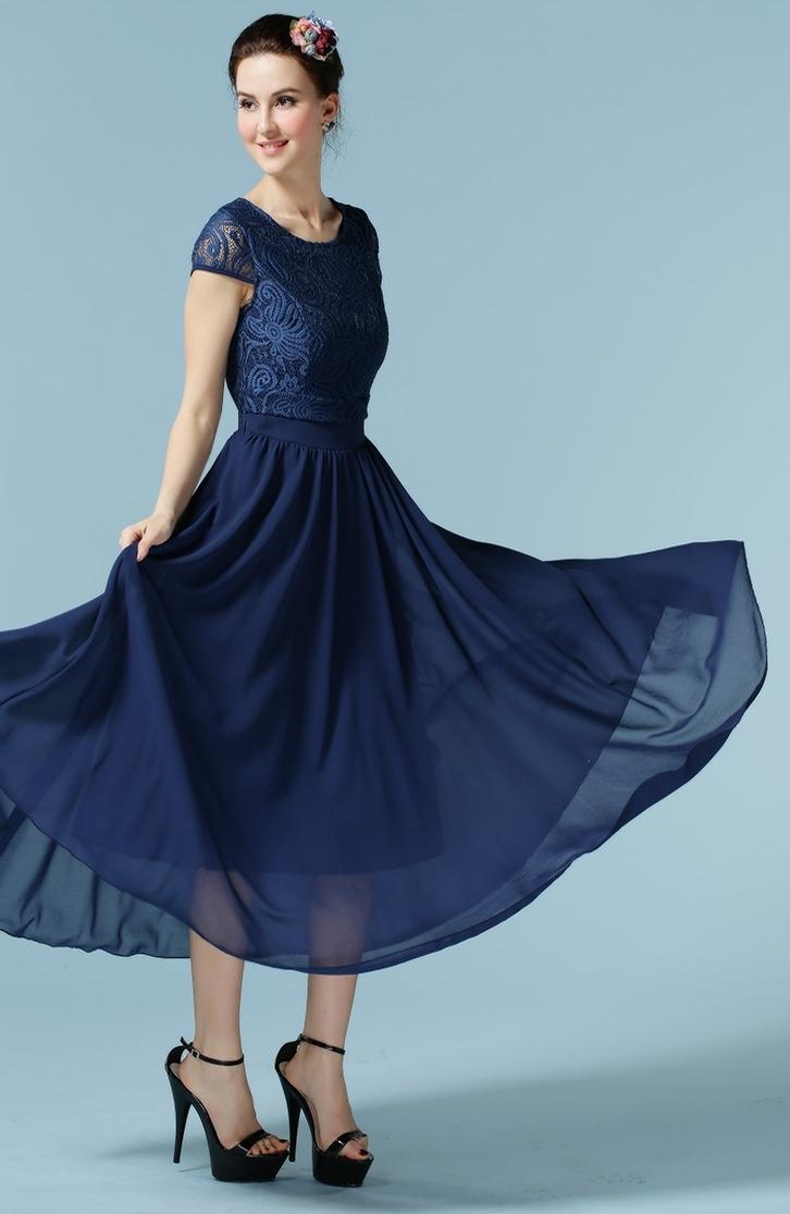 6b1ab70f3 WOMENS ELEGANT LONG LENGTH PLEATED SKIRT STYLE DRESS BLUE – Unomatch ...