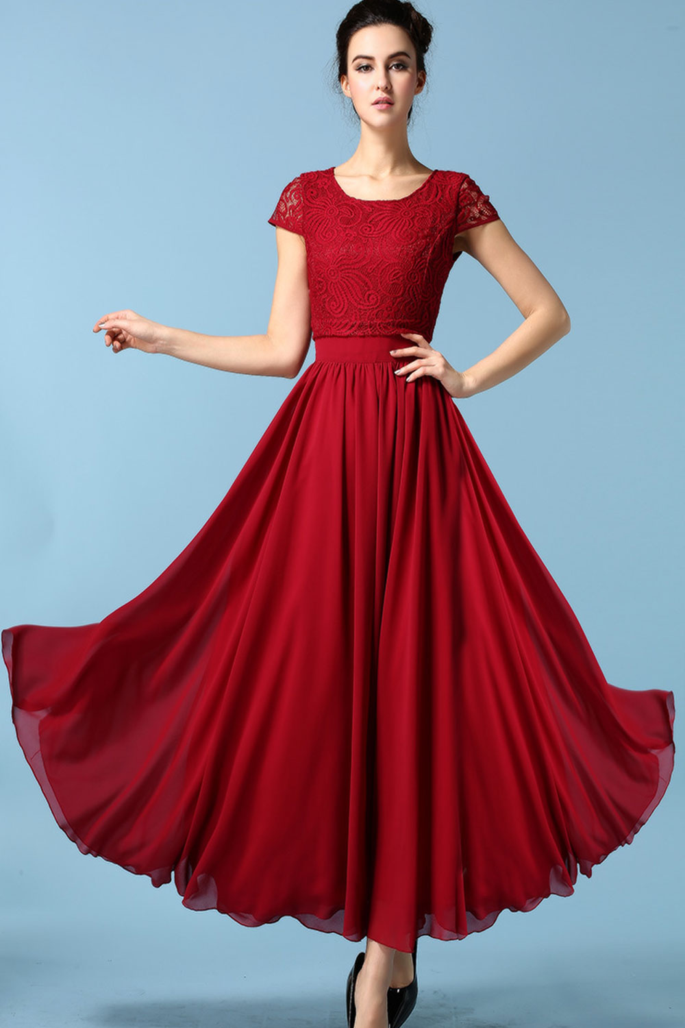 c6bc72af966 WOMENS ELEGANT LONG LENGTH PLEATED SKIRT STYLE DRESS RED – Unomatch Shop