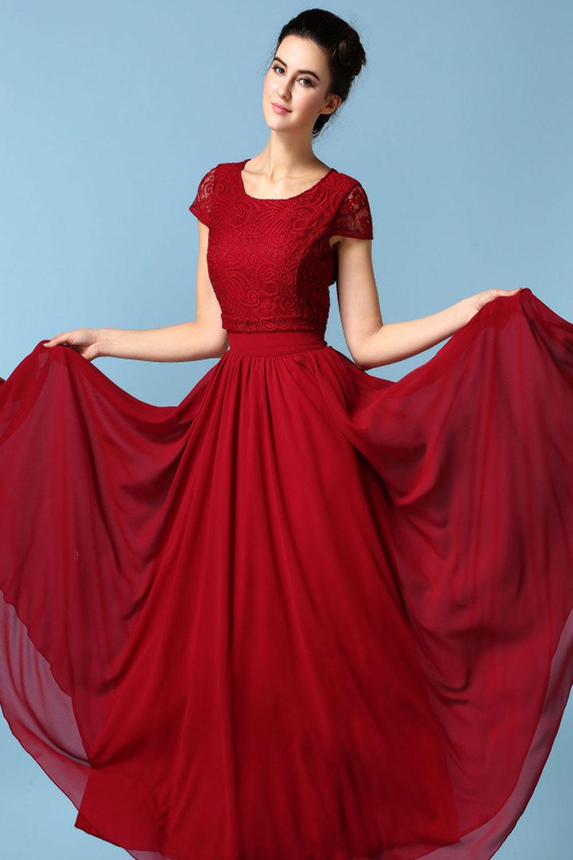 Elegant Long Red Dress