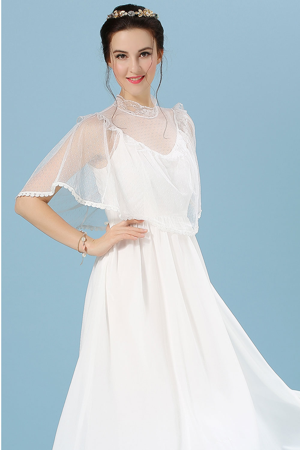WOMENS FAIRY STYLE BRIDES LONG THIN DRESS WHITE – Unomatch Shop