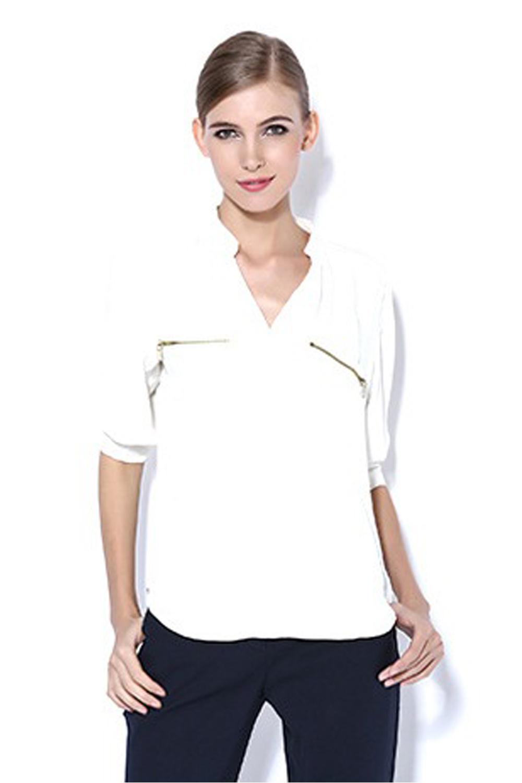 Unomatch women long sleeve v neck silk crepe shirt colour for Long white v neck t shirt