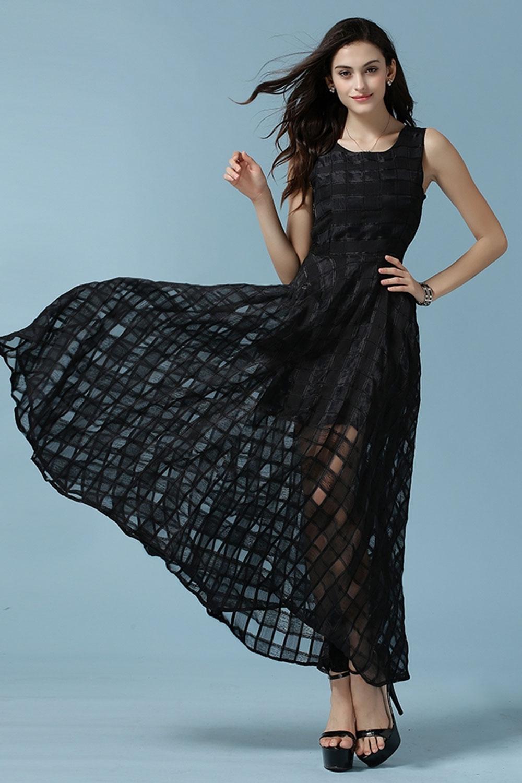 WOMENS SLEEVES NEW FASHION JACQUARD DRESS BLACK