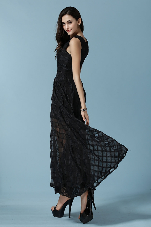WOMENS SLEEVES NEW FASHION JACQUARD DRESS BLACK – Unomatch Shop